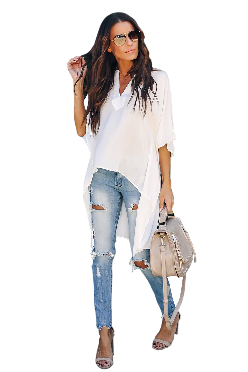 witte trendy blouse