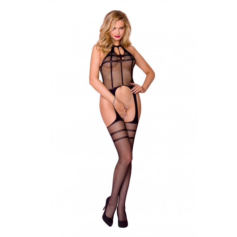 Casmir Bodystocking 008 - Black | Visnet | Jarretels | Strepen 1