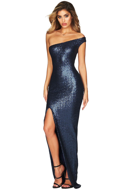 45b2e8102df678 sexy blauwe off-shoulder jurk - clubwearcompany