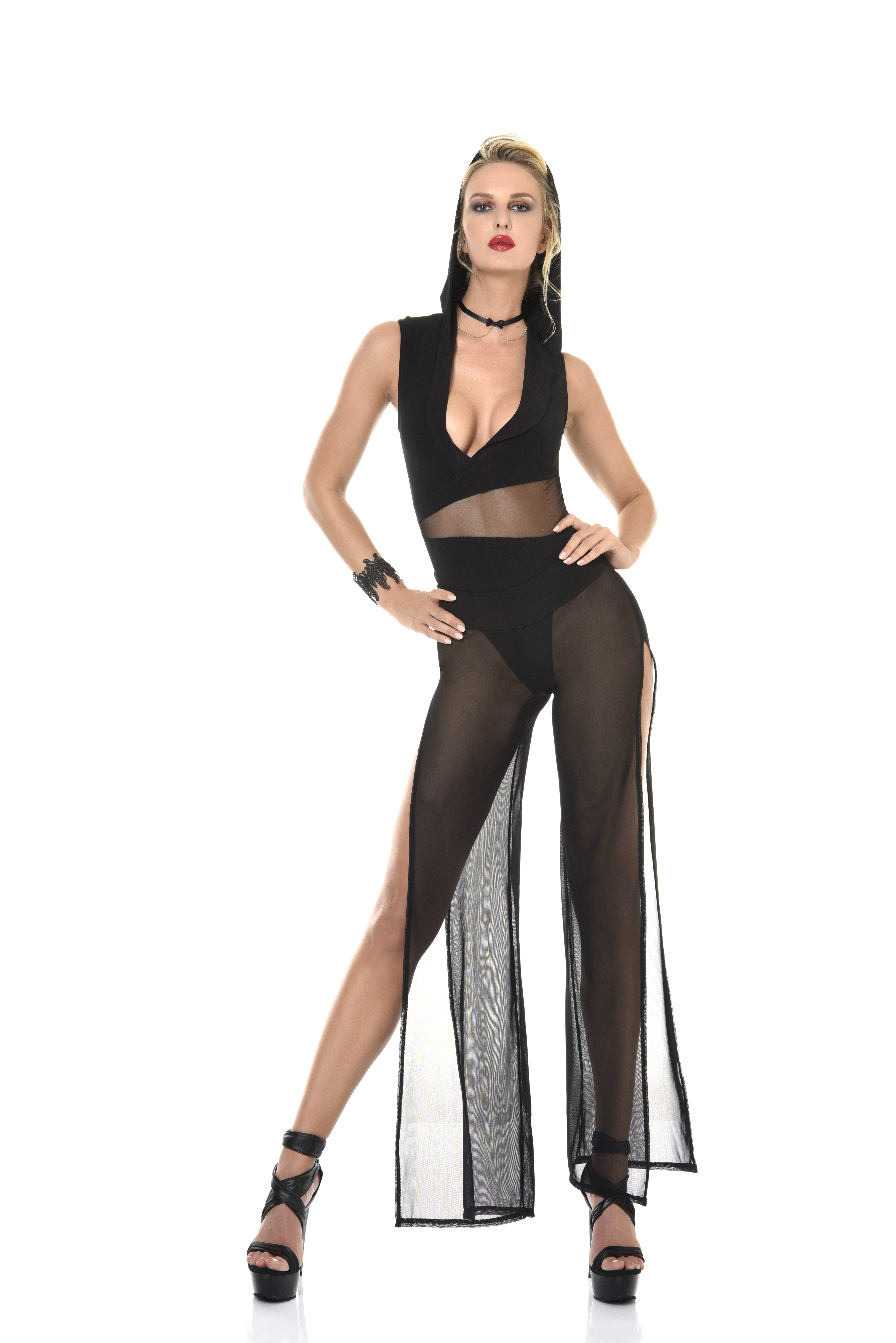 super sexy string body met doorzichtige pantalon