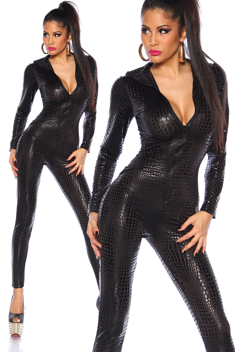 sexy zwarte wetlook catsuit