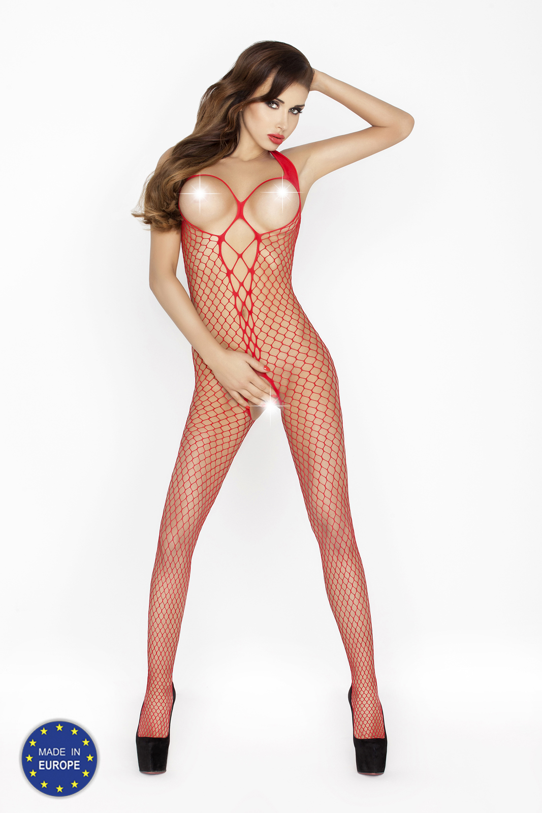 sexy rode visnet bodystocking