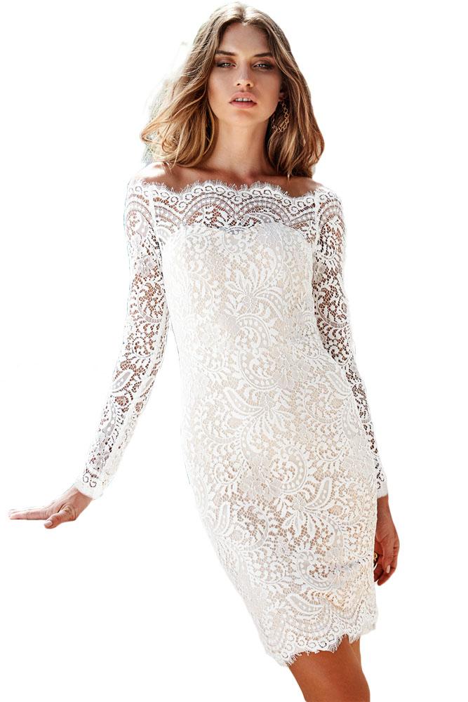 Geliefde romantische kanten jurk off shoulder -clubwearcompany MU21