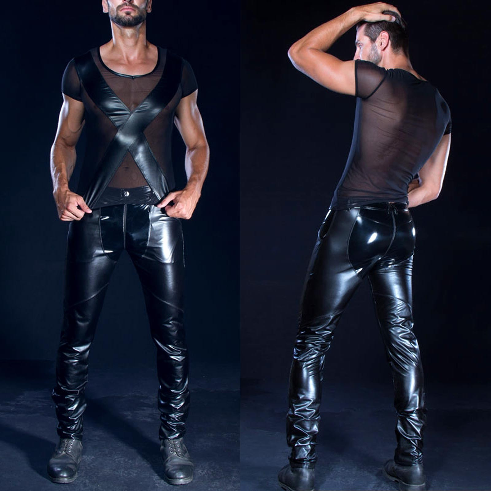 sexy lak en wetlook broek man