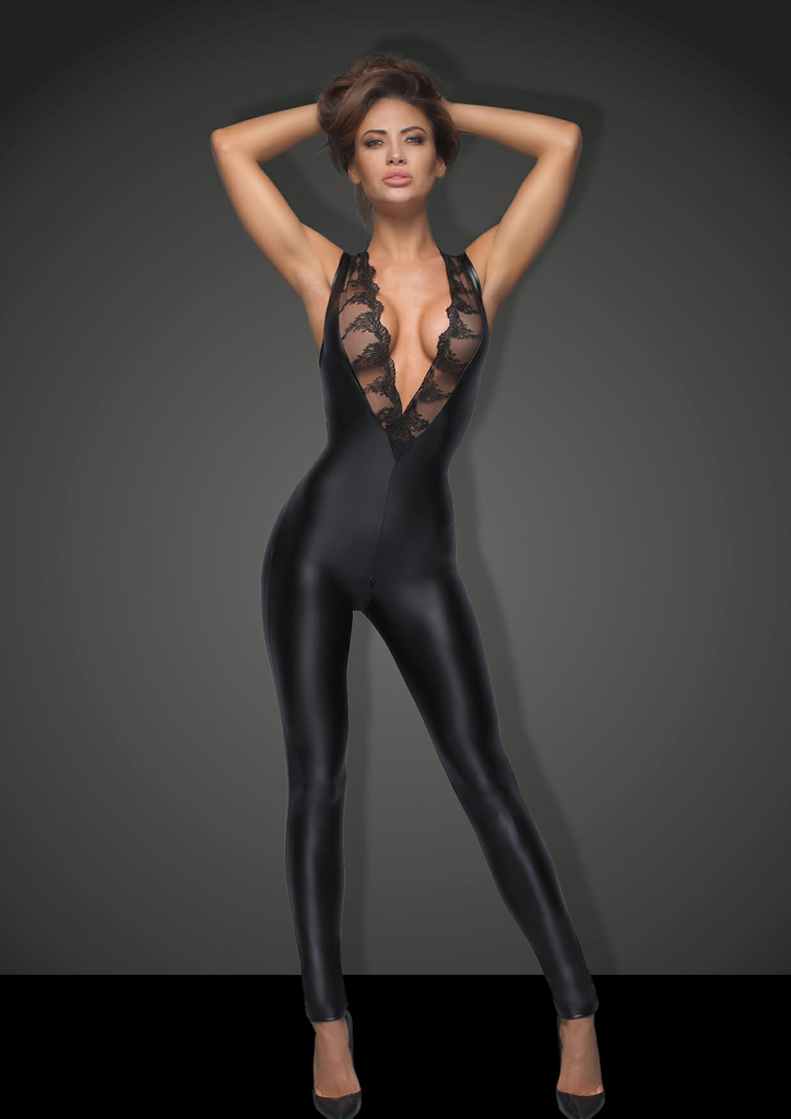 wetlook catsuit met kant