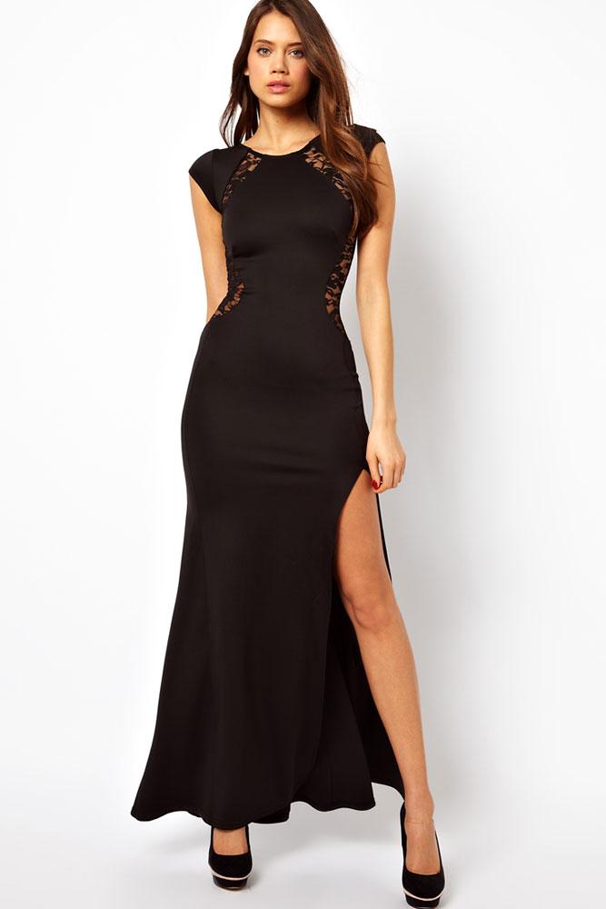 lange zwarte jurk met split
