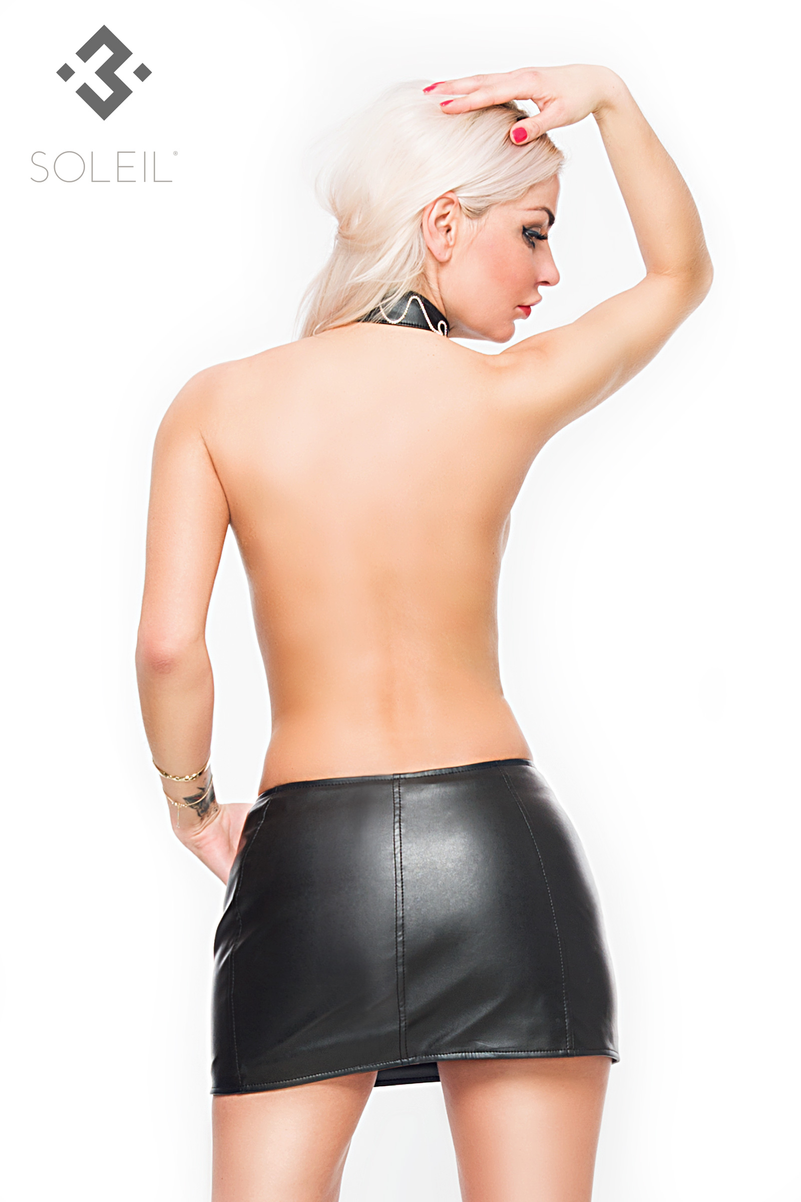 sexy zwart pu leren rokje soleil   clubwear pany