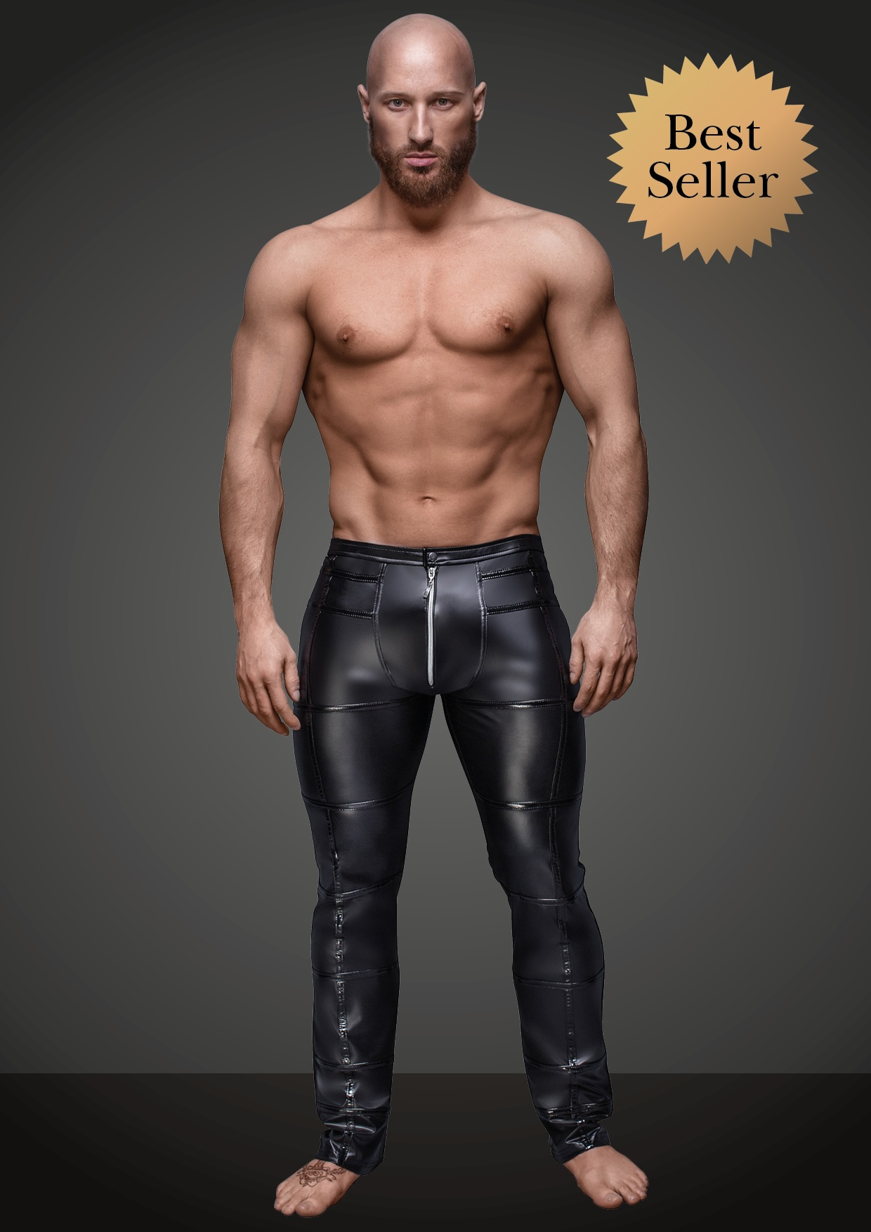 wetlook broek noir