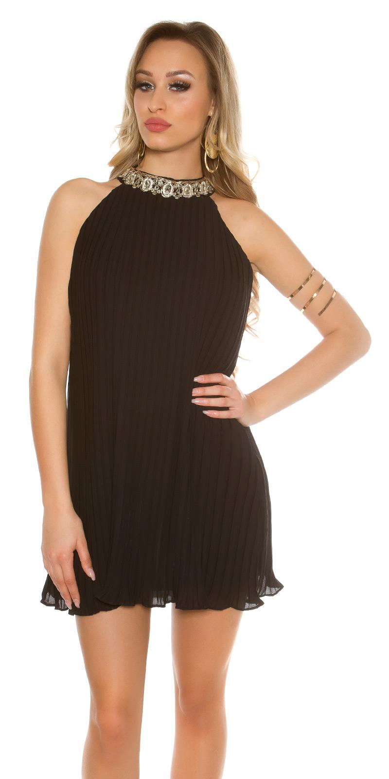 39dbde15f7a944 chique en sexy zwarte plisse jurk-clubwearcompany