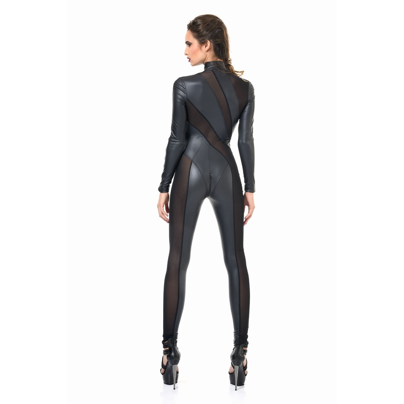 catsuit wetlook en gaas